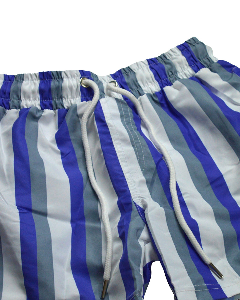 Pinstripe Swim Shorts - Blue/White/Grey