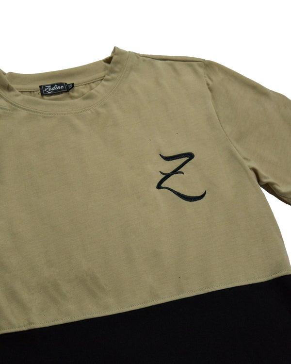 Double Panel T-Shirt - Sand / Black