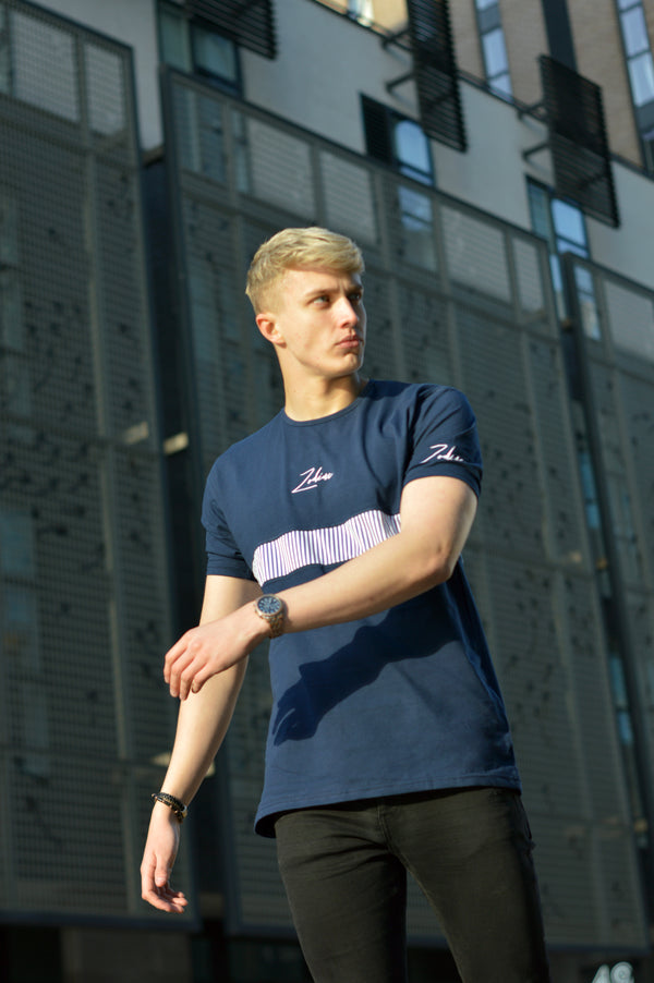 Pinstripe Panel T-Shirt - Navy/White
