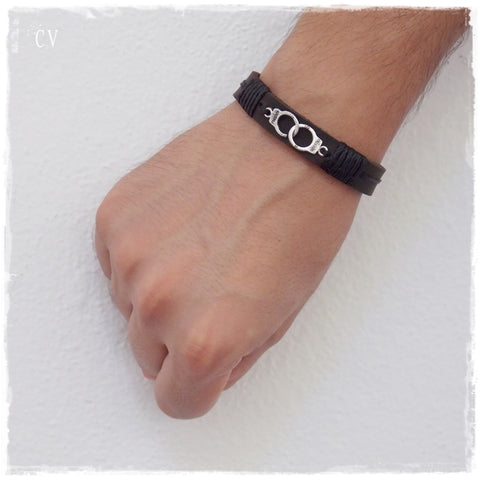Policeman Handcuff Leather Bracelet