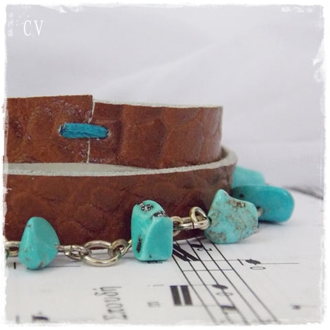 Turquoise Stone Multi-Wrap Leather Bracelet