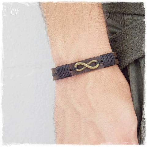 Brass Infinity Brown Leather Bracelet Cuff