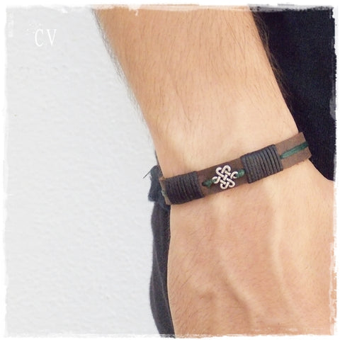 Endless Knot Leather Bracelet