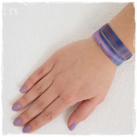 Ombre Purple Leather Bracelet Cuff