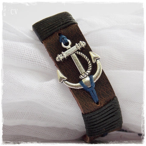Nautical Anchor Leather Bracelet ~