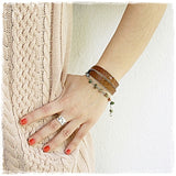 Triple Wrap Caramel Leather Bracelet