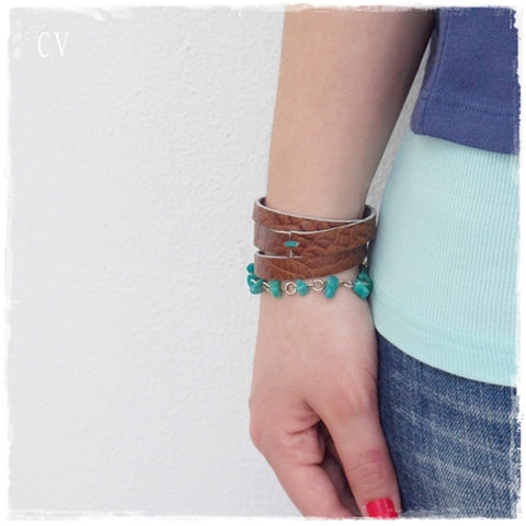 Amazonite Multi-Wrap Leather Bracelet Cuff