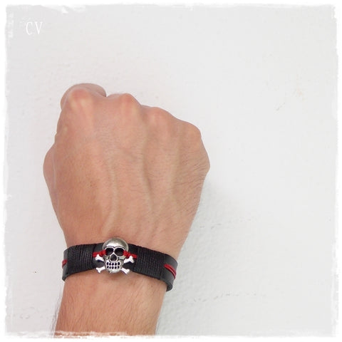 Pirate Skull Leather Wristband For Him