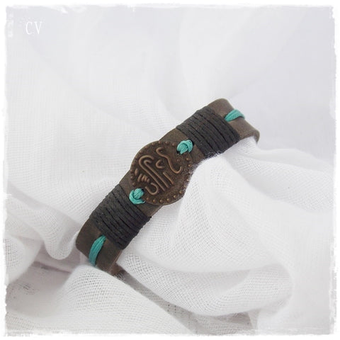 Arabic Coin Gypsy Leather Bracelet Cuff