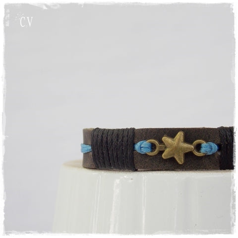 Dainty Shooting Star Leather Wish Bracelet