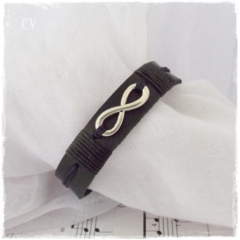 Silver Infinity 3rd Anniversary Leather Bracelet