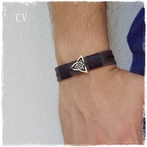 Triquetra Leather Bracelet