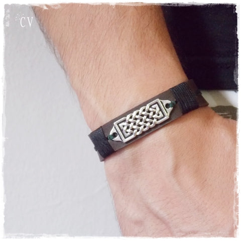 Viking Knotwork Handmade Leather Bracelet