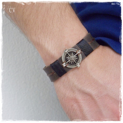 Compass Nautical Leather Bracelet For Him