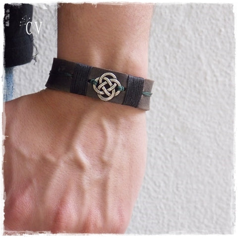 Love Knot Celtic Leather Bracelet Cuff