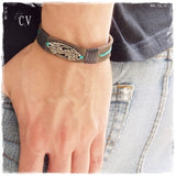 Vineyard Greek Leather Bracelet Cuff