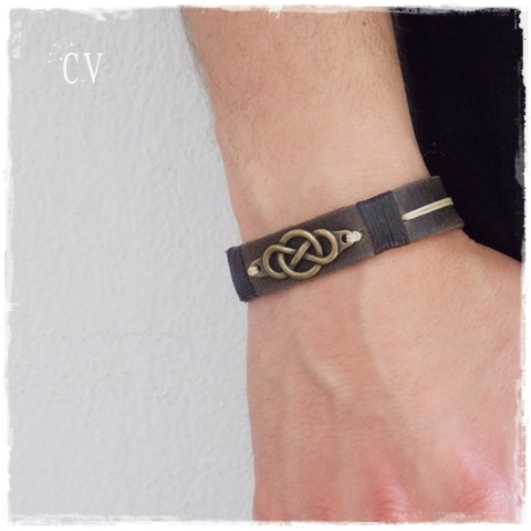 Brass Infinity 3rd Anniversary Leather Bracelet