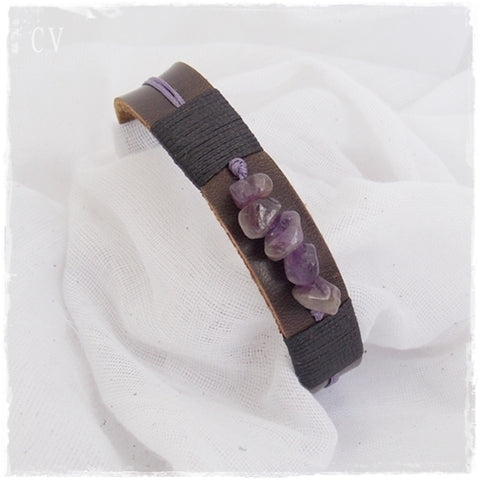 Amethyst Gemstone Leather Bracelet