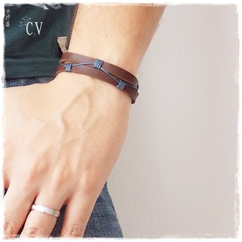 Multi-Color Braided Leather Bracelet