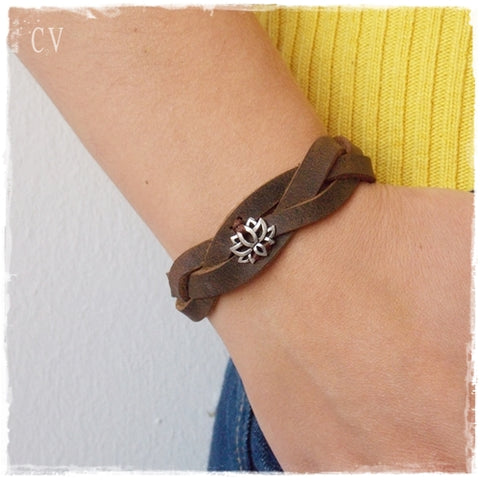 Braided Lotus Leather Bracelet
