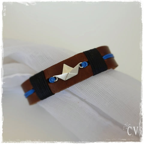 Origami Boat Leather Bracelet