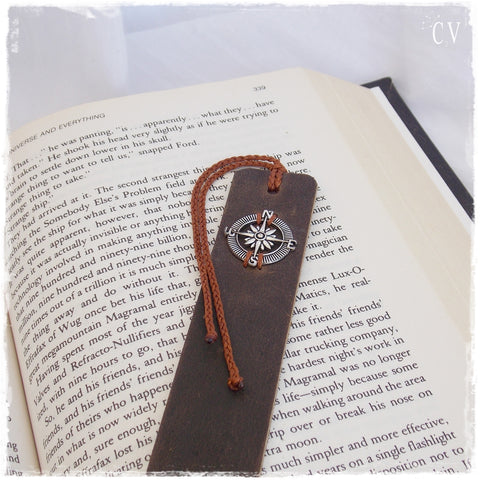 Compass Leather Bookmark