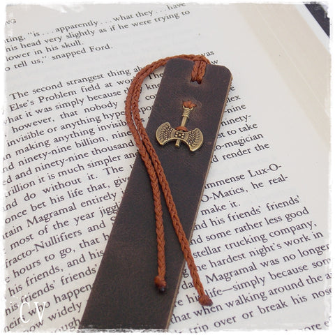 Battle Axe Leather Bookmark