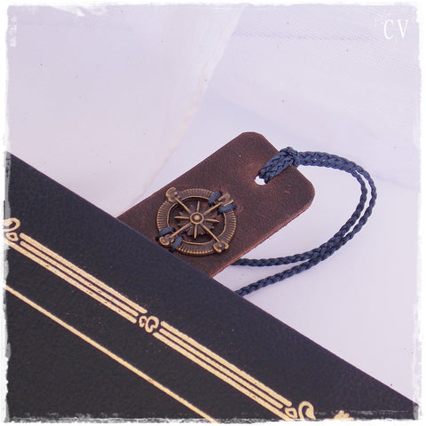Nautical Compass Leather Bookmark