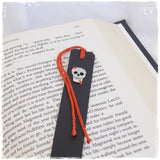 Sugar Skull Leather Bookmark ~