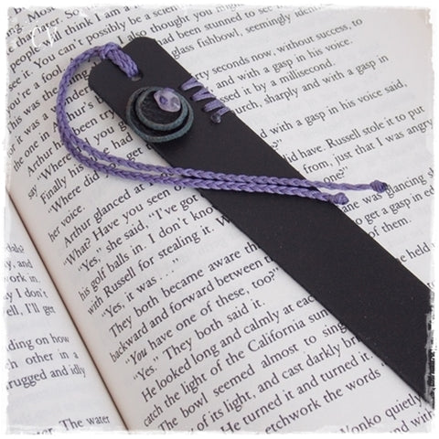 Gothic Black Leather Bookmark with Amethyst Stone