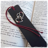 Couple's Hearts Leather Bookmark