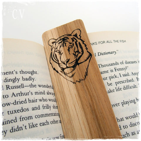 Personalized Tiger Wooden Bookmark