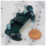 Emerald Green Abstract Polymer Clay Brooch Pin