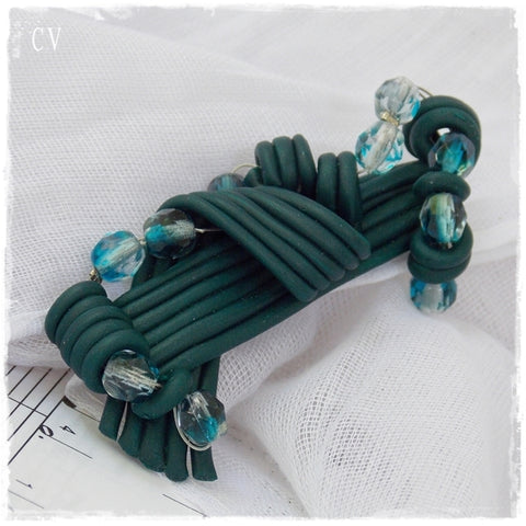 Emerald Green Polymer Clay Brooch