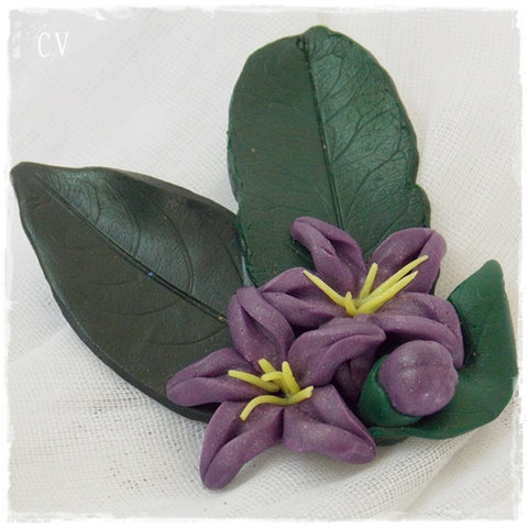 Purple Blossoms Polymer Clay Brooch