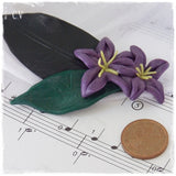 Purple Flower Polymer Clay Brooch Pin