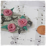 Dusty Pink Floral Polymer Clay Brooch