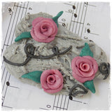 Pink Roses Handmade Polymer Clay Brooch