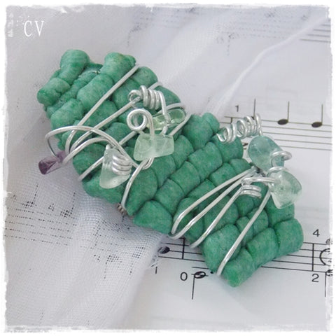 Fluorite Wire-Wrapped Polymer Clay Brooch