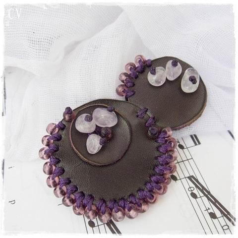 Dark Purple Beaded Leather Brooch