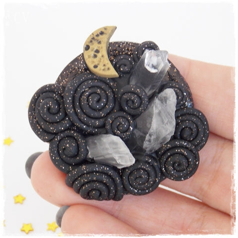 Night Sky Polymer Clay Brooch