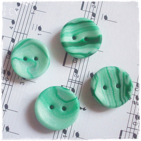 Green Round Polymer Clay Buttons