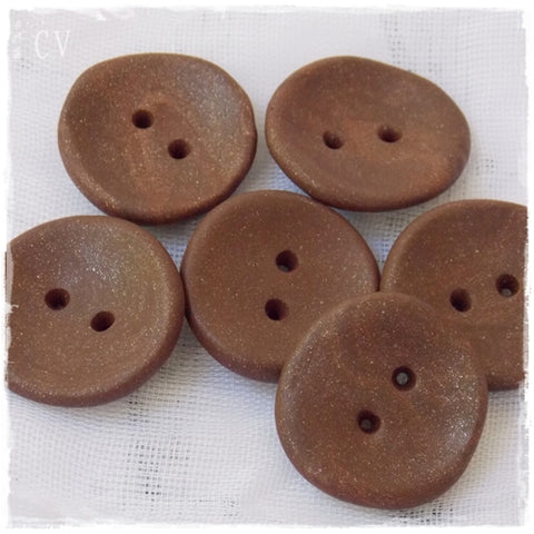 Large Brown Polymer Clay Buttons