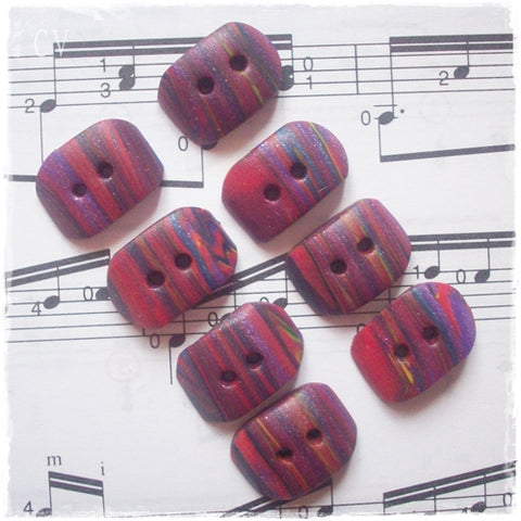 Oblong Striped Polymer Clay Buttons
