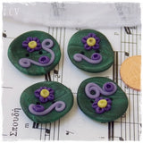 Fairy Floral Polymer Clay Buttons