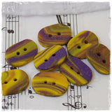 Oval Purple and Yellow Polymer Clay Buttons