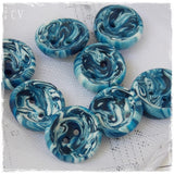 Tiny Blue Polymer Clay Buttons
