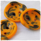 Tribal Orange Black Polymer Clay Buttons