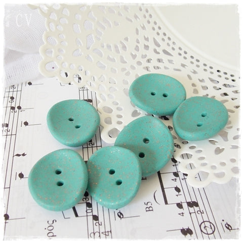 Turquoise Polymer Clay Buttons