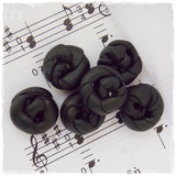 Tiny Black Polymer Clay Buttons